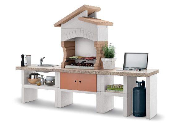 cucina da terrazzo in muratura