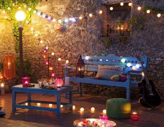 luci per festa in terrazzo