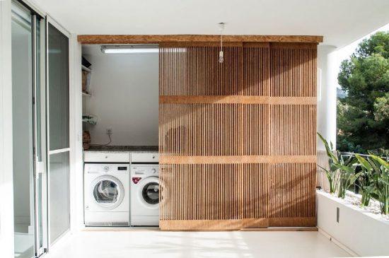 Nicchia lavanderia per terrazzo.