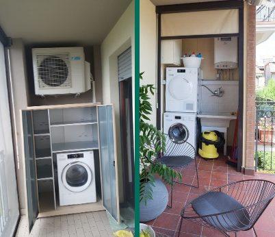 Angolo lavanderia in terrazzo